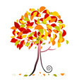 Tree - Abstract Autumn Tree with Falling Lea vector image