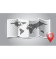Folded world map with gps marks vector image