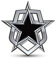 Celebrative silver emblem with black pentagonal vector image
