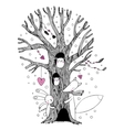Beautiful magic tree fox hare angel and owl vector image