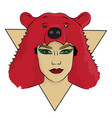 a girl with a bear skin on her head eps 8 vector image