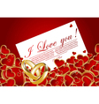 card with glossy red hearts vector image