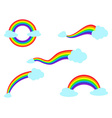 colorful rainbow with cloud icons set vector image