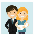 family with a newborn baby on blue background vector image