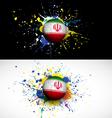Iran flag with soccer ball dash on colorful vector image