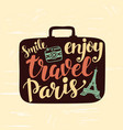 travel label with lettering in suitcase vector image