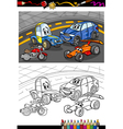 cartoon cars for coloring book vector image