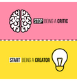 Flat line icons of brain and light bulb vector image