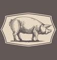Vintage style pig emblem vector image
