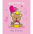 bear with cupcake and balloon vector image vector image
