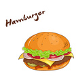 isolated cartoon hand drawn fast food Hamburger vector image