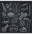 Gentleman vintage accessories doodle set vector image