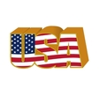 Volumetric 3D USA sign stylized flag colors in a vector image