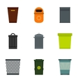 Rubbish bin icons set flat style vector image
