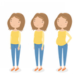 Three different stages of pregnancy vector image