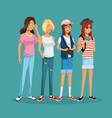 teens girl group student fashion hat sunglasses vector image