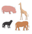 african animals silhouettes made as stickers vector image