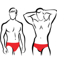 athletic men silhouettes vector image