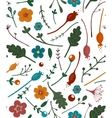 Flowers Leaves and Berries Seamless Pattern vector image