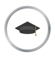 Graduation cap icon in cartoon style isolated on vector image