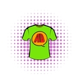 Green shirt with AD letters icon in comics style vector image