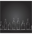 set of bottles with alcohol the style of vector image