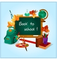 Back to school icon with blackboard student items vector image