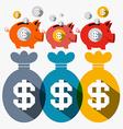 Money Pigs Piggy Bank and Dollar Bags Flat Design vector image