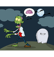 Zombie Walking With Hands In Night vector image vector image