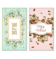 set of invitation cards with dry flowers vector image vector image