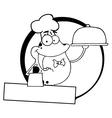 Frog waiter cartoon vector image vector image