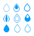 Blue Water Drops Icons Set vector image