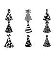 black party hat icons set vector image vector image
