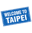 Taipei blue square grunge welcome to stamp vector image