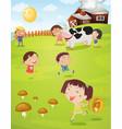 Kids playing on farm vector image vector image