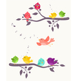 Colorful Birds on branches background vector image