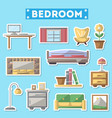 bedroom furniture icon set in flat style vector image