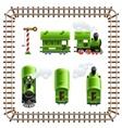 green vintage locomotive with vector image