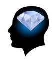 Man head and diamond vector image