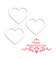 White hearts on a white background vector image