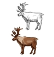 Christmas Santa reindeer isolated sketch icons set vector image