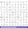 100 discussion icons set outline style vector image