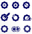 Car parts such as tires and wheels icons set vector image