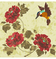 Old dirty asian wallpaper with flowers and birds s vector image
