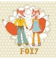 Adorable foxes couple vector image