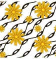Pattern with yellow flowers and wavy lines vector image