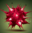 Abstract 3D structure polygonal network object red vector image