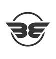 be initials winged shape symbol design vector image