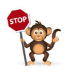 Cute chimpanzee little monkey holding stop sign vector image