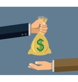Hand holding money vector image